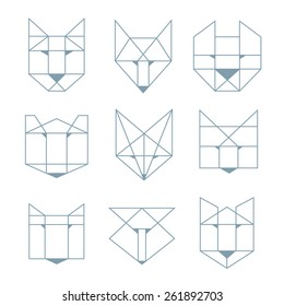 Set of abstract geometric animal with a thin outline