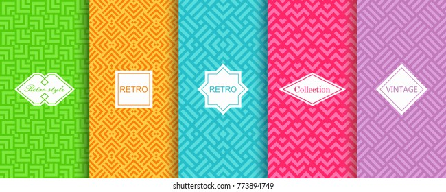 Set of abstract geometric backgrounds in bright retro colours with seamless textured patterns. Vector illustration. Template greeting card, invitation and advertising banner, brochure