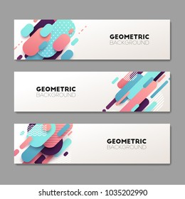 Set of abstract geometric banners. Vector illustration.