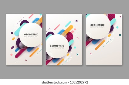 Set of abstract geometric brochures. Vector illustration.