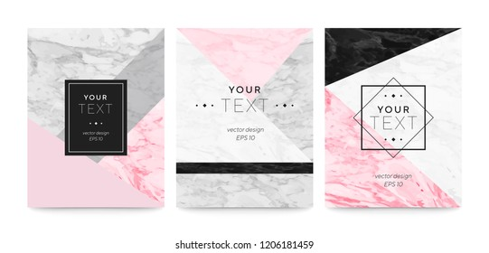 Set abstract geometric designs posters cream, light grey, pastel pink and marble texture background. Vector trendy geometric posters. Template for invitation card or poster design