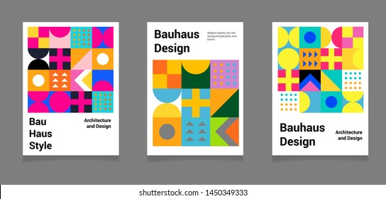 Set of abstract geometric minimal vector posters in neo-memphis/ bauhaus/ vaporwave style. Collection of retrofuturistic covers for club party, music concert, bar promo.