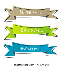 set of abstract geometric sale banner sticker label ribbon isolated on white background