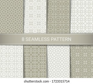 Set of abstract geometric seamless patterns artwork, vector illustration