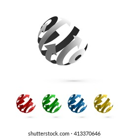 Set of Abstract Globe Rotating Arrows. Abstract Globe Logo Element. Rotating Arrows. Vector Symbol of Globalization. 3D Design.