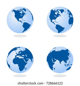 Set of Abstract Globe with World Map. 3D Vector Illustration.