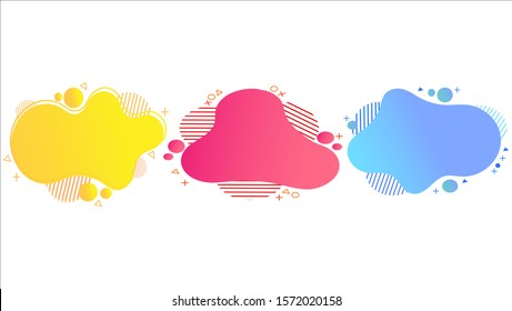 set of abstract gradient liquid shape design banners