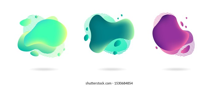 Set of abstract gradient modern graphic elements. Banners with flowing liquid shapes. Logo, flyer, presentation, invitation, card template. Vector illustration.