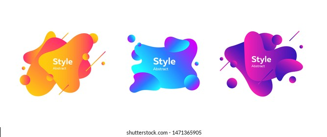 Set of abstract graphic elements. Dynamical colored forms and lines. Gradient abstract banners with flowing liquid shapes. Template for logo, flyer, presentation