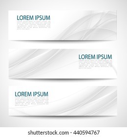 Set abstract gray smooth curve lines background advertising banner.Abstract header gray wave white vector design