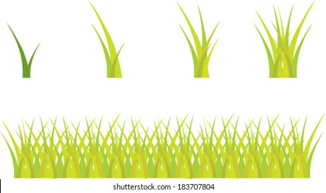 set of abstract green grass