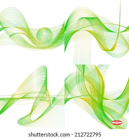 set of abstract green line yellow wave pistachio band on white background vector