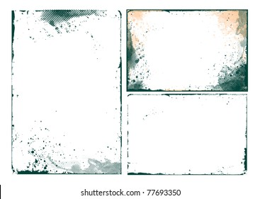 set of abstract grunge border design element - vector