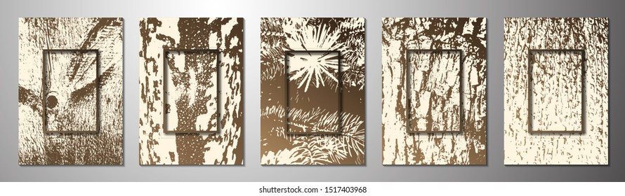 Set. Abstract grunge texture of lush spruce tree branches, fallen spruce tree branches, wood cut texture, tree bark. Rectangular frame. Template for your design. Vector illustration