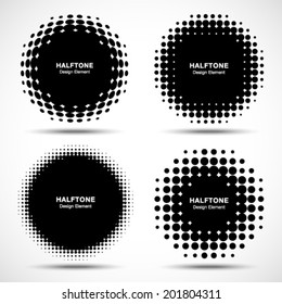 Set of Abstract Halftone Design Elements, vector illustration, logo
