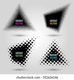 Set with abstract halftone design elements. Vector illustration. EPS 10