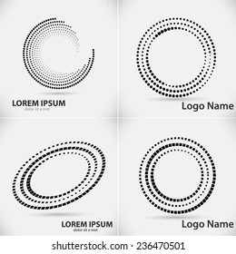 Set of Abstract Halftone Logo Design Element. Vector illustration.