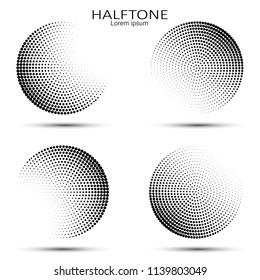 Set of abstract halftone. Vector halftone circles. Abstract dots. Vector illustration.