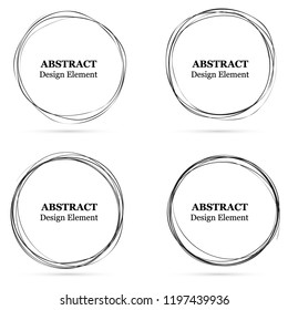 Set of abstract hand drawn circles for your design. Scribble circle lines vector. Black circular doodle isolated on the white background. Vector abstract logo design element.