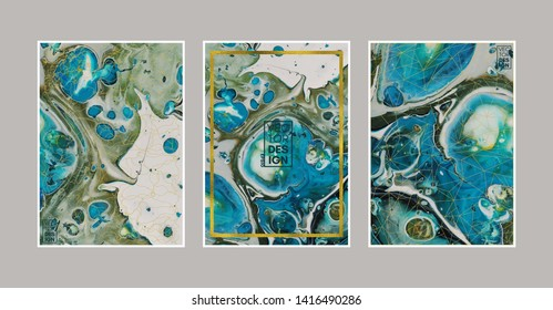 Set of abstract hand drawn painting cards, posters or background. Swirls of marble or the ripples of agate. Liquid marble acrylic texture. Fluid art. Underwater world. Vector illustration