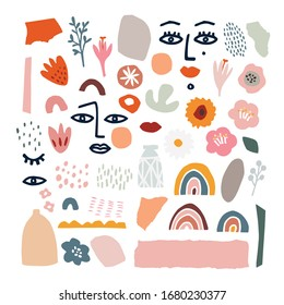 Set of abstract hand drawn shapes, flowers, floral elements, line art women faces. Flat modern artistic, minimalist design.  Decorative isolated vector illustrations for textile, prints, patterns.