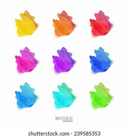 Set of abstract hand drawn watercolor blots. Vector