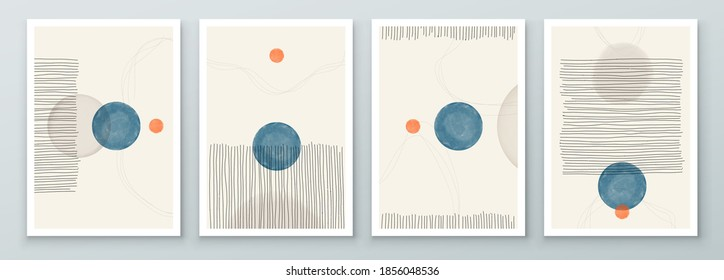 Set of Abstract Hand Painted Illustrations for Postcard, Social Media Banner, Brochure Cover Design or Wall Decoration Background. Modern Abstract Painting Artwork. Vector Pattern - Shutterstock ID 1856048536