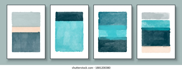 Set of Abstract Hand Painted Illustrations for Postcard, Social Media Banner, Brochure Cover Design or Wall Decoration Background. Modern Abstract Painting Artwork. Vector Pattern