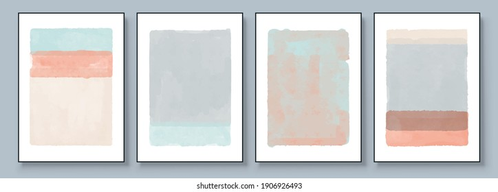 Set of Abstract Hand Painted Illustrations for Wall Decoration, Postcard, Social Media Banner, Brochure Cover Design Background. Modern Abstract Painting Artwork. Vector Pattern