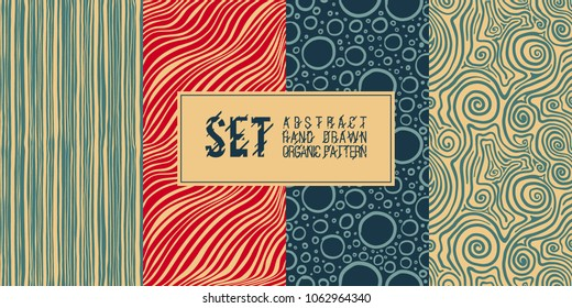 A set of abstract hand-made organic patterns. Modern design, wallpaper, tile, ornament for the fabric. Gift paper.