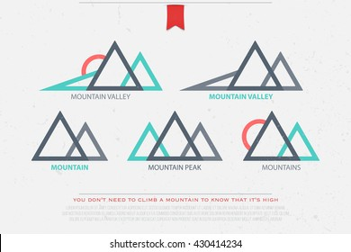 set of abstract high mountains vector icons travel and rock climbing concept logo. landscape graphic design. mountain valley logotype. vector mountain peak symbol over grunge background mountains logo