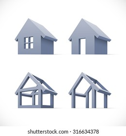 Set of abstract houses icons. Easy to change colors.