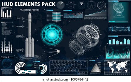 Set abstract HUD elements for UI UX design. Futuristic Sci-Fi user Interface for app (spaceship launch, instrument panel, graphics, radars, space dish, sensors, 3d spaceship) in Hud style