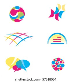 Set of Abstract Icons in Primary Colors