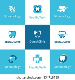Set of abstract  icons, signs and symbols with tooth for dental clinic logo concept in blue and white colors