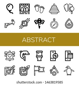 Set of abstract icons such as Balloon, Gun, Bridge, Cpu, Feet, Dragonfly, Pyramid, Compass, Brain, Drop, Wedding bells, Note, Dolphin, Notes, Toilet, Banner, Calendar , abstract