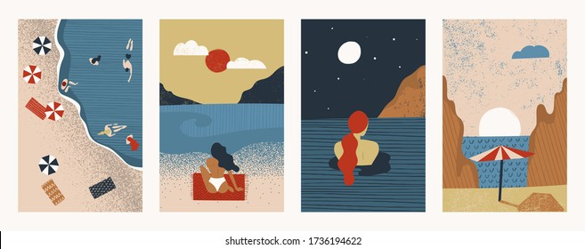 Set of abstract illustrations with happy people relaxing on the beach. Summer vacation design