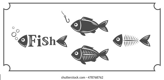 Set of abstract images of fish with design elements, icons, labels, emblems