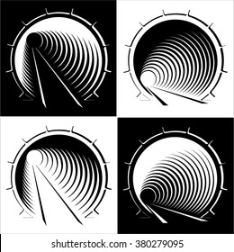 set abstract images of tunnel in the mountain, black and white