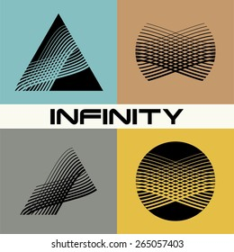 Set. Abstract infinity logo design template. Infinite shape. Flat design.