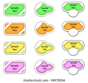 A set of abstract labels in multiple colors.