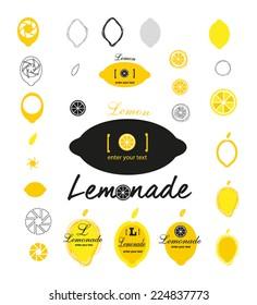 Set of abstract lemon icons