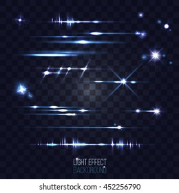 set of abstract lens stars and flares on transparent background vector illustration good for your project