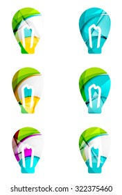 Set of abstract light bulb icons, business logotype idea concepts, clean modern geometric design. Created with transparent abstract wave lines