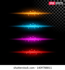 Set of Abstract Lighting Flare. Element Four Color Light with Lens Effect. Concept Graphic Element.