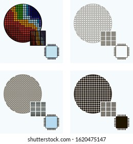 Set of abstract  line art vector industry icons featuring electronics or semiconductor circuits manufacturing or  fab production process with semiconductor  wafer, printed circuits, microchips.