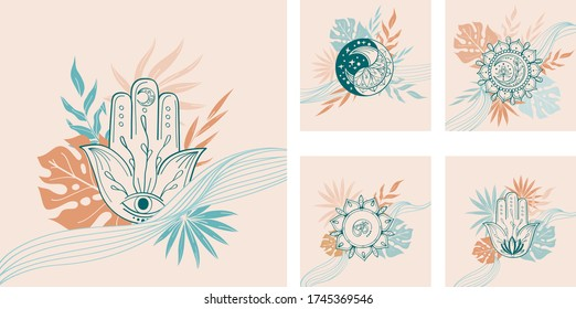 Set of abstract linear pre-made composition with yoga symbol, hamsa, mandala, om, tropical leaf in beige, green, terracotta color. Vector trendy  illustartion for invitation, card in indian yoga style