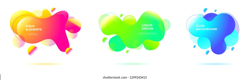 Set of abstract liquid backgrounds. Geometric fluid shapes and organic forms with vivid color blends in neon tones.