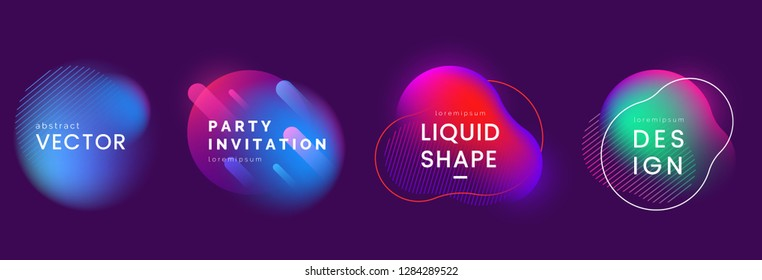 Set of abstract liquid banners in different neon colors. Modern fluid gradient elements with light effect. Abstract backgrounds for club party invitation, web, advertisement. Vector eps 10.