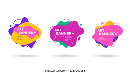 Set of abstract liquid shape. Fluid banner design with dots, lines and texturing graphics. Isolated dynamical art form.